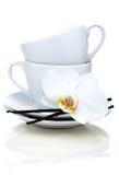 Dos tazas de té, vainillas y flores. Fotografía de archivo