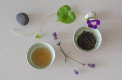 Dos tazas de té y de decoraciones naturales Imagenes de archivo