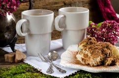 Dos tazas de tiramisu del café y del postre Foto de archivo libre de regalías