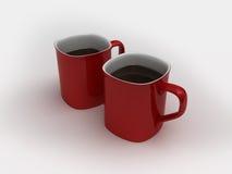 Dos tazas rojas stock de ilustración