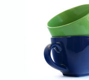 Dos tazas sobre blanco Fotografía de archivo libre de regalías