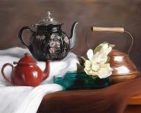 Dos Teapots vida ainda Imagens de Stock Royalty Free