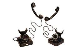 Dos teléfonos negros de la vendimia Imágenes de archivo libres de regalías