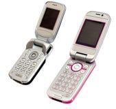 Dos teléfonos móviles Imágenes de archivo libres de regalías