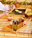 Dos termas vida ainda com bambu. Fotos de Stock Royalty Free