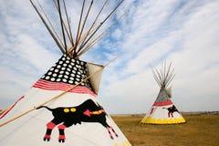 Dos tiendas de los indios norteamericanos Imagenes de archivo
