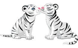 Dos tigres blancos en amor Foto de archivo