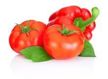 Dos tomates, pimientas rojas dulces y hojas aislados en b blanco Fotografía de archivo