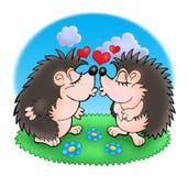 Dos topos con los corazones en hierba Imágenes de archivo libres de regalías