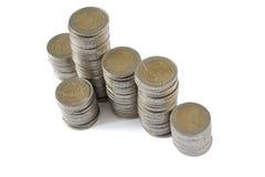 Dos torres de las monedas de los euros Fotografía de archivo libre de regalías