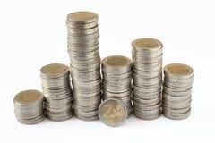 Dos torres de las monedas de los euros Foto de archivo libre de regalías