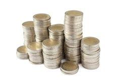Dos torres de las monedas de los euros Fotos de archivo libres de regalías
