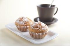 Dos tortas con té Imagen de archivo libre de regalías