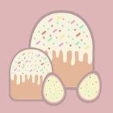 Dos tortas y dos huevos para Pascua Imagen de archivo