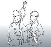 Dos trabajadores de construcción Imagen de archivo libre de regalías