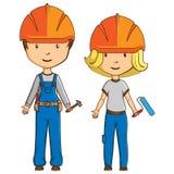 Dos trabajadores del estilo de la historieta stock de ilustración
