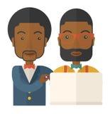 Dos trabajadores negros que usan el ordenador portátil stock de ilustración