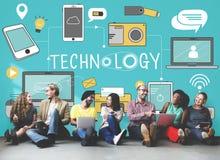 Dos trabalhos em rede sociais dos meios da tecnologia conceito em linha de Digitas imagem de stock