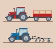 Dos tractores de granja aislados en fondo beige stock de ilustración