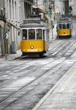 Dos tranvías amarillas Imagen de archivo libre de regalías