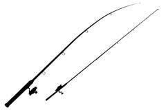 Dos trastos de pesca del negro en un blanco Imagenes de archivo