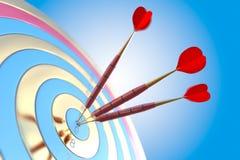 Dos tres dardos rojos que golpean el objetivo de la diana concepto de ejemplo del éxito 3d stock de ilustración