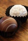 Dos trufas de chocolate Imagen de archivo libre de regalías