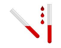 Dos tubos de prueba con el líquido rojo Fotografía de archivo libre de regalías