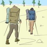 Dos turistas con caminar los palillos y las mochilas van debajo del valle ilustración del vector