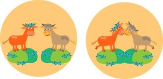 Dos vacas en campos del prado libre illustration