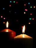 Dos velas de la Navidad Foto de archivo libre de regalías