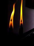 Dos velas de quema Foto de archivo libre de regalías