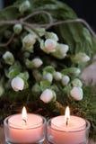 Dos velas del advenimiento Foto de archivo