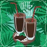 Dos vidrios con café o batido de leche frío del choco Fotos de archivo