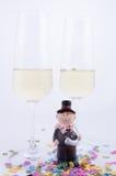 Dos vidrios con champán Imagen de archivo libre de regalías