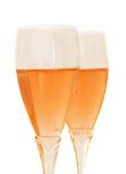 Dos vidrios con champán color de rosa Imagenes de archivo