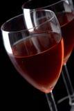 Dos vidrios con el vino rojo Foto de archivo libre de regalías