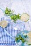 Dos vidrios de agua y menta verde fresca, y cal En una servilleta azul en un fondo de madera Espacio libre para el texto o una po imagenes de archivo