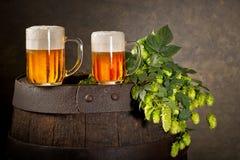 Dos vidrios de cerveza Imagen de archivo libre de regalías