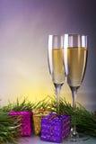 Dos vidrios de champán fotografía de archivo