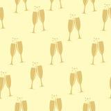 Dos vidrios de Champagne Silhouette Seamless Foto de archivo