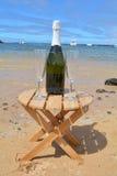 Dos vidrios de la isla de Champagne And Bottle In Paradise Imágenes de archivo libres de regalías
