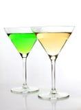 Dos vidrios de martini imagen de archivo libre de regalías