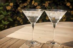 Dos vidrios de martini en la sol Imagen de archivo libre de regalías