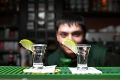 Dos vidrios de tequila Imágenes de archivo libres de regalías