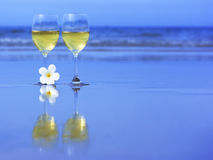 Dos vidrios de vino blanco Fotografía de archivo