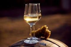 Dos vidrios de vino blanco en la puesta del sol Fotos de archivo libres de regalías