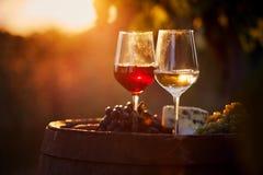 Dos vidrios de vino blanco y rojo en la puesta del sol Imagen de archivo libre de regalías