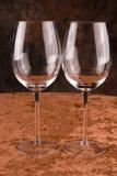 Dos vidrios de vino cristalinos Imagenes de archivo