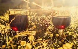 Dos vidrios de vino rojo en sol Fotografía de archivo